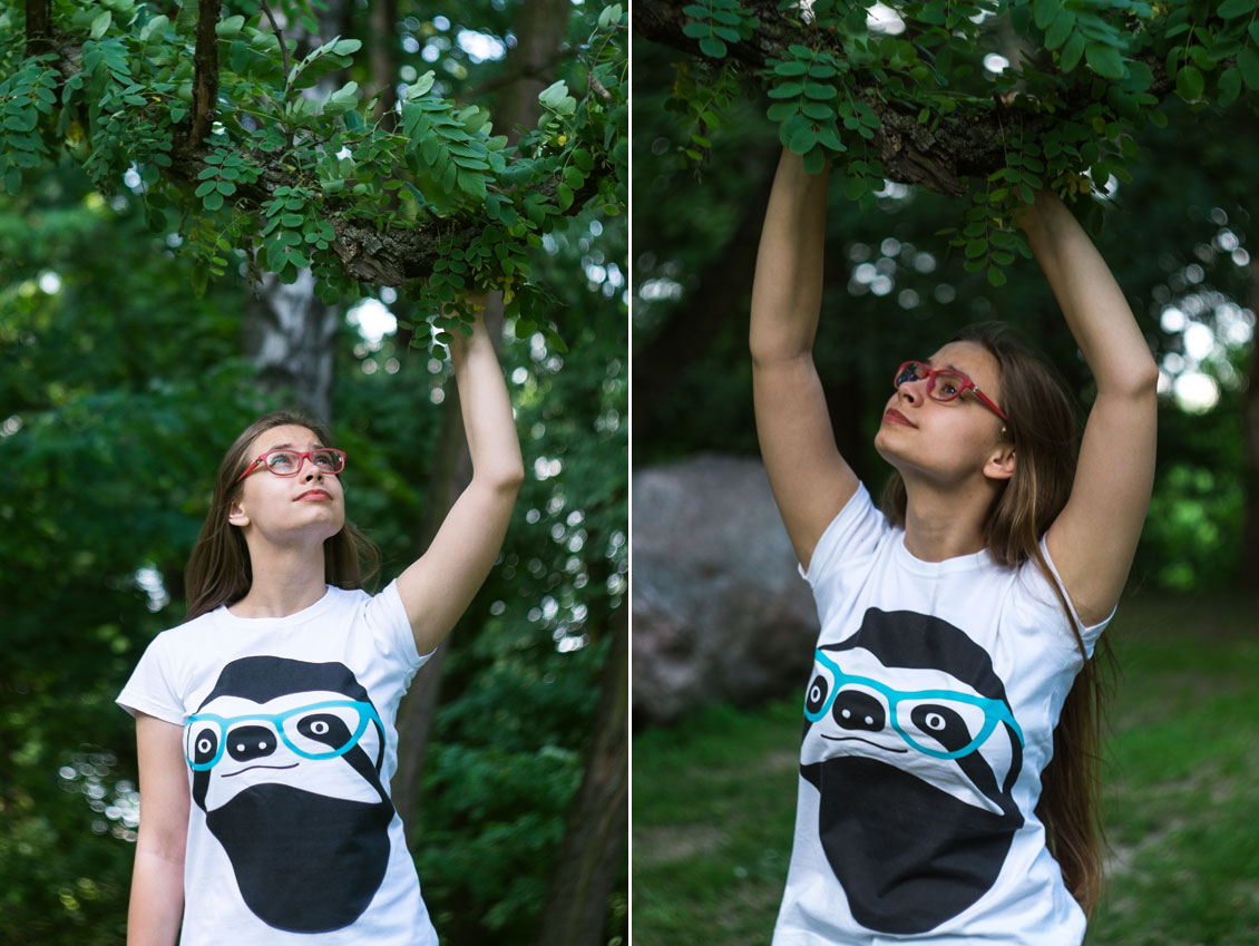Women's T shirt 100% cotton Sloth with Glasses size M